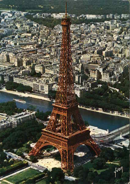 The Eiffel Tower, aerial shot Paris France