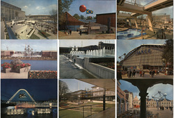 Set of 9: 1958  Brussels World's Fair Expo 58 Postcard