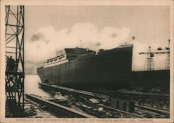 "Launch of the Motor Ship ""St Louis"" of the Hamburg-America Line Postcard"