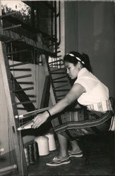 Woman Weaving on a Large Inkle Loom Postcard