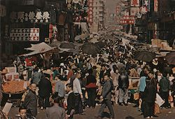 Market Existing in the open street Kowloon, Hong Kong Postcard