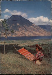 Woman Weaving Postcard