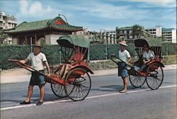 Pleasure rides on Rickshaws A jet age relic in Hong Kong Postcard