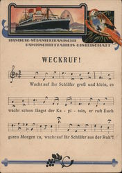 Wake Up Call - Hamburg-South American Steamship Company Postcard