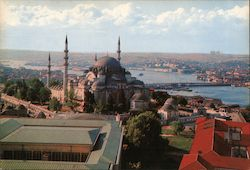 Suleymaniye Mosque and a view of Golden Horn - Istanbul, Turkey Postcard