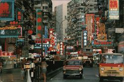 Scene of Busy Jordan Road, Kowloon Postcard