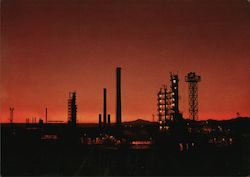 Petroleum Refinery by night Postcard