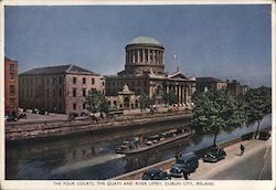 The Four Courts, The Quays and River Liffey Postcard