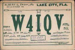 W4IQV - Albert G. Snow, Jr., 314 W. St. Johns Street Postcard