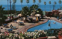 Oceanside Pool, overlooking the park and blue Pacific, on the grounds of the beautiful La Valencia Hotel Postcard