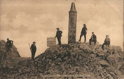 Summit Mt Shasta, Men posing with memorial and sign Postcard