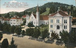 Catholic Church and San Rafael Hall, Marin County Postcard