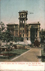 Hall of Justice after earthquake and fire. April 18, 1906 Postcard
