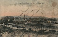 State Hospital and Birds Eye View Postcard