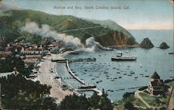 Avalon and Bay on Santa Catalina Island, CA Postcard
