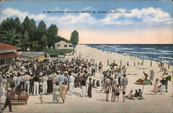 Bathing beach, bathers, swimmers, crowds Florida