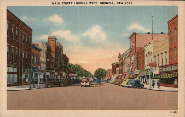 Main Street Looking West Hornell New York