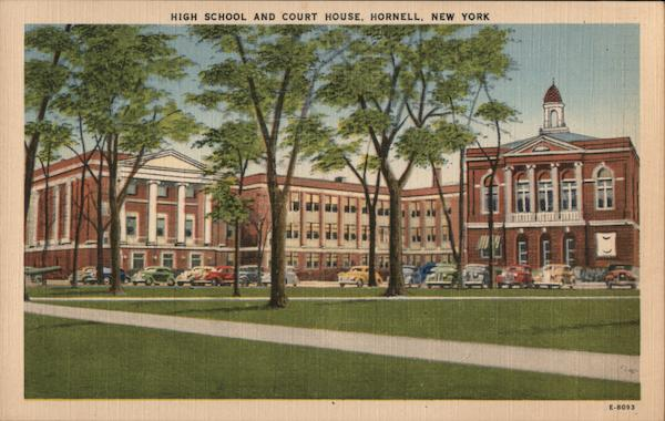 High School and Court House Hornell New York