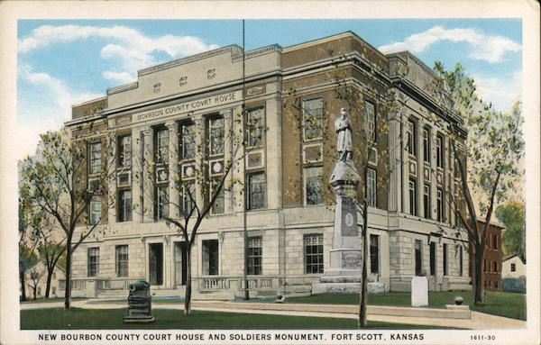 New Bourbon County Court House and Soldiers Monument Fort Scott Kansas