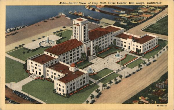 Aerial view of City Hall, Civic Center San Diego California