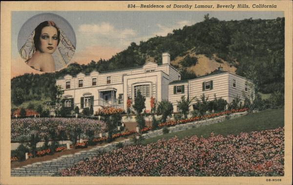 Residence of Dorothy Lamour, inset of Dorothy Lamour Beverly Hills California