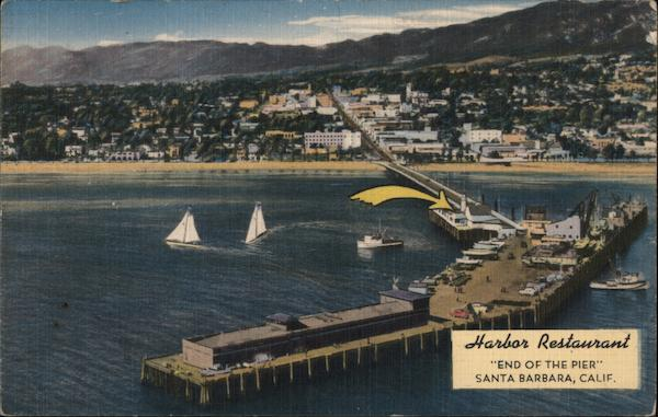 Harbour Restaurant, sailboats, pier Santa Barbara California
