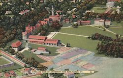 Airplane View of University and Burlington, VT Postcard