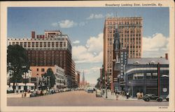 Broadway looking East. Greyhound depot Postcard