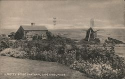 Chatham, windmill, flower beds, ocean