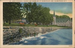 St. James Episcopal Church and Shoreline of Skaneatelese Lake Postcard