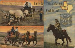 Early-Day Transportation in West Texas. Ox drawn covered wagon, stage coach, pony express rider Postcard