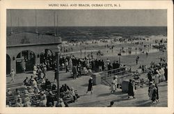 Music Hall and Beach Postcard