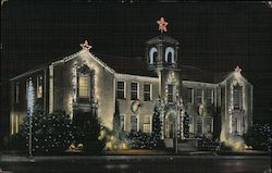 City Hall with Christmas lighting. Postcard
