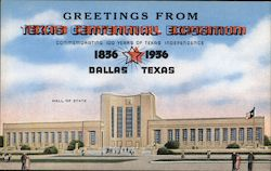 Greetings from Texas Centennial Exposition 1836 1936. Hall of State Postcard