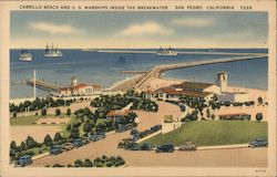 Cabrillo Beach and U.S. Warships Inside the Breakwater Postcard