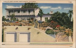 Home of Janet Gaynor Postcard