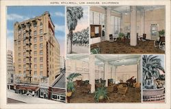 Hotel Stillwell, lobby, fountain, palm trees Postcard