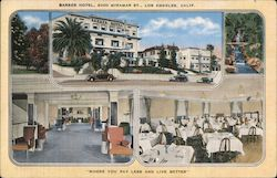 Barker Hotel, Dining room, lobby, waterfall, orchard Postcard