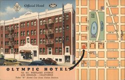 Olympic Hotel and map Postcard