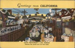 Greetings from California. Lucca Restaurant Postcard