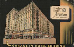 The Internationally Hotel Alexandria Garage in Hotel Building Postcard