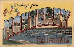 Greetings from Monterey, visitor sites in letters and index on back Postcard