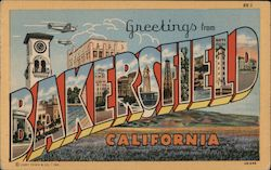 Greetings from Bakersfield, visitor sites in letters and index on back Postcard