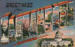 Greetings from Sacramento. Capitol, bridges, harbor, missions Postcard
