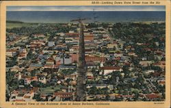 A General View of the Business Area Looking Down State Street from the Air Postcard