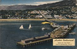 Harbour Restaurant, sailboats, pier Postcard