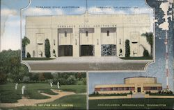 Torrance Civic Auditorium, KNX Columbia Broadcasting Transmitter, Golf Course Postcard