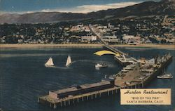 Harbor Restaurant, pier, sailboats Postcard