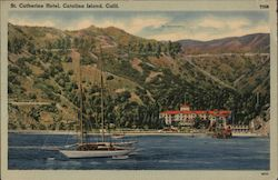 St. Catherine Hotel, sailing ship, pier Postcard