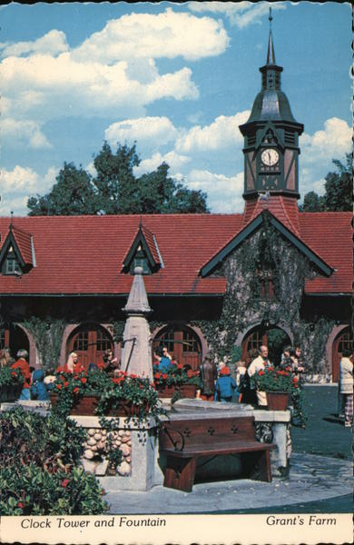 Grant's Farm. Clock tower and fountain St. Louis Missouri